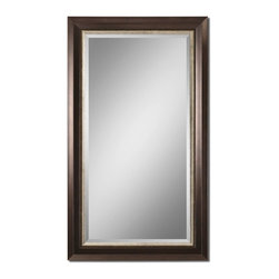 """Uttermost - Uttermost Blaisdell Espresso Bronze Mirror 14214 - Lightly Distressed Espresso Bronze Finish With Antiqued Silver Details. Mirror Feature A Generous 1 1/4"""" Bevel. May Be Hung Either Horizontal Or Vertical."""