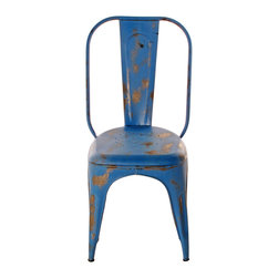"Kathy Kuo Home - French Iron Rustic Teal Blue Cafe Chair - Sitting in this French iron rustic chair will make you feel like you're at a European cafe, sipping espresso with your most stylish friend. The French iron is hand painted a charming teal blue, and its worn finish gives it a relaxed look that says ""Ah, oui."""