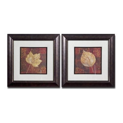 Uttermost - Uttermost 33570 Golden Fall I Ii Set of 2 Wall Art - Uttermost 33570 Grace Feyock Golden Fall I Ii Set of 2 Wall ArtThis set of earth tone prints is accented by mats that have a beige background with a gray woven texture. Frames and fillets have a bronze undertone with a dark brown and black wash. Prints are under glass.Features: