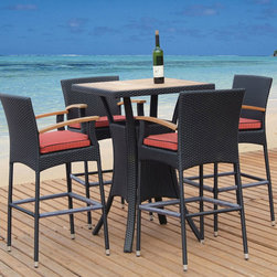 Tosh Furniture - Tosh Furniture Dark Brown Bar Set - No deck is complete without a fun and fashionable bar set. That's just what the Tosh Furniture Dark Brown Bar set offers - a relaxing and fun time while looking great in the process. The teak table top and arm rests are the ideal contrast against the dark finish on the chairs and table base. The vibrant red seat cushions offer 60 mm cushions for maximum comfort. The chair legs have protective caps to protect both the legs and your patio deck. Beautifully constructed, this is one collection that will call to you every day. Set includes bar table with teak top and 4 bar stools with teak armrest. - TOS-GW3061SET-C.  Product features: Bar table comes with 1pc 20mm teak top., Bar stool comes with 1pc 60mm seat cushion.. Product includes: Bar Table (1); Barstool (4). Dark Brown Bar Set by Tosh Furniture.