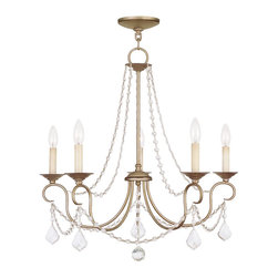 Livex Lighting - Pennington 5 Light 1 Tier Chandelier - Antique Silver Leaf - Bulb Base: Candelabra (E12). Bulb Wattage: 60. Bulb Count: 5. Bulbs Not Included