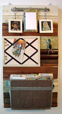Salvaged Sanity - Mail Organizers - This beautiful message center will bring cottage chic and organization to your home or office. Salvaged Sanity products are made from reclaimed wood, vintage books, antique hardware and flea market finds.