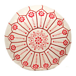 """Casablanca Market - Embroidered Leather Pouf, Red on White Starburst Stitch - Authentic Moroccan hand-made leather hassock commonly known as Poof is made out of genuine soft leather. The poof is so practical it can be used as a foot stool, as a low seat next to your coffee table or in your children room. Zippered bottom opening for easy stuffing. Measurement: Diameter: 21.5"""" Height: 12"""""""