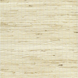 Shen Beige Grasscloth Wallpaper - Silky sea grass, knotted like twine, makes an eco-chic texture on walls in a warm straw hue.