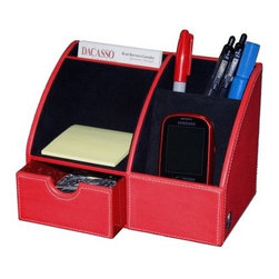 Dacasso Red Contemporary Letter Tray and Organizer - About Dacasso Limited Inc Located in Gainesville Florida Dacasso offers quality desk sets and unbeatable customer service. Dacasso manufactures leather and wood desk accessories and their product line ranges from complete leather desk sets that perfectly present a professional look to leather calendar holders that provide organization for day-to-day responsibilities. A company that believes in its products and service Dacasso guarantees your satisfaction.