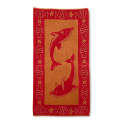 Beach Towel 450GSM, 34 x 63 - Dolphins, Red - Dolphins Beach Towels (Set of 2)100% Cotton