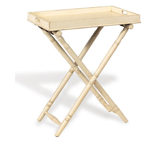 "Kathy Kuo Home - Devon Butler Beach Style Folding Tray Table Ivory 36""H - Everyone could use a butler like this. Stylish yet practical, this butler folding tray table stows neatly away when not in use, but pops open in a second to hold cocktails and appetizers at a moment's notice. It's perfectly at home in an entryway, out on the porch, in the dining room or wherever you need a little extra serving space."