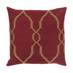 """Surya - Diamond Pattern Square Pillow FA-019 - 22"""" x 22"""" - A stylish, diamond design gives this pillow it's fashionable design. Colors of red and tan accent this decorative pillow. This pillow contains a poly fill and a zipper closure. Add this pillow to your collection today."""
