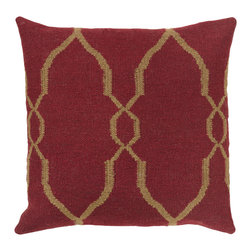 "Surya - Diamond Pattern Square Pillow FA-019 - 22"" x 22"" - A stylish, diamond design gives this pillow it's fashionable design. Colors of red and tan accent this decorative pillow. This pillow contains a poly fill and a zipper closure. Add this pillow to your collection today."