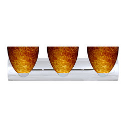 Besa Lighting - Besa Lighting 3WZ-757218 Sasha 3 Light Reversible Bathroom Vanity Light - Sasha II has a classical bell shape that complements aesthetic, while also built for optimal illumination. Our Amber Cloud glass is full of floating, vibrant warm tones that range from light gold to deep amber. When lit, the humid color palette illuminates to exude a harmonious display. This decor is created by rolling molten glass in small bits of brown hues called frit. The result is a multi-layered blown glass, where frit color is nestled between an opal inner layer and a clear glossy outer layer. This blown glass is handcrafted by a skilled artisan, utilizing century-old techniques passed down from generation to generation. Each piece of this decor has its own artistic nature that can be individually appreciated. The vanity fixture is equipped with sleek arcing die cast lamp holders and matching radiused rectangular canopy.Features: