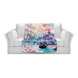 DiaNoche Designs - Fleece Throw Blanket by Aja-Ann - The Black Swan - Original Artwork printed to an ultra soft fleece Blanket for a unique look and feel of your living room couch or bedroom space.  DiaNoche Designs uses images from artists all over the world to create Illuminated art, Canvas Art, Sheets, Pillows, Duvets, Blankets and many other items that you can print to.  Every purchase supports an artist!