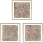 "Paragon Decor - Geometric III, Set of 3 Artwork - Liven up those boring walls with this dynamic set of 3, ""Geometric III."" Each piece in this set features a geometric pattern of clean white lines atop an antiqued cement-colored background. Each piece has its own unique composition, but the set finds its cohesion in its shared style and color scheme. This set can be displayed alone, but looks best with its sister sets, ""Geometric I"" and ""Geometric II,"" which are also both sets of 3. Each piece is surrounded by an off-white matte and placed within a simple frame. Each piece in this set measures 18 inches wide, 1 inch deep, and 18 inches high."