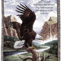 Manual - Freedom Bald Eagle Print Tapestry Throw Blanket 50 Inch x 60 Inch - This multicolored woven tapestry throw blanket is a wonderful addition to your home or cabin. Made of cotton, the blanket measures 50 inches wide, 60 inches long, and has approximately 1 1/2 inches of fringe around the border. The blanket features a print of a majestic American Bald Eagle perched on the stump of a tree. Printed in the top right corner is Isaiah 40:31, 'But they that wait upon the Lord shall renew their strength; they shall mount up with wings as eagles.' Care instructions are to machine wash in cold water on a delicate cycle, tumble dry on low heat, wash with dark colors separately, and do not bleach. This comfy blanket makes a great housewarming gift that is sure to be loved.