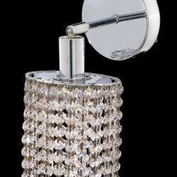Elegant Lighting - Mini Ellipse Chrome One-Light Bath Fixture with Royal Cut Clear Crystal and Roun - Royal Cut crystal is a combination of high quality lead free machine cut and machine polished crystals and full-lead machined-cut crystals to meet a desirable showmanship of an authentic crystal light fixture.  -Recommended to be professionally hung and supported independently of the outlet box. Consult an electrician for guidance to determine the correct hanging procedure.  -Crystals may ship separately and some assembly is required.  -Depending on the size & design the assembly can be time consuming, but is well worth the effort. Elegant Lighting - 1281W-R-E-CL/RC