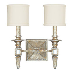 Capital Lighting - Capital Lighting 8482-535 Palazzo 2 Light Bathroom Wall Sconce - Capital Lighting 8482-535 Palazzo 2 Light Bathroom Wall SconceWith a complex interplay of Silver and Gold Leaf, this glamorous dual light wall sconce features decorative fabric shades and Antique Mirror accents that will liven up any room in the home.Capital Lighting 8482-535 Features: