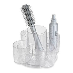 Interdesign - Interdesign Rain Vanity Petal Spinner - These bath organizers have a great textured rain pattern in a versatile clear design with complementing platinum metal accents. The durable plastic pieces have non-skid, non-absorbent foam bases.