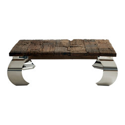 Kathy Kuo Home - Sid Modern  Rustic Lodge Wood Silver Base Square Coffee Table - The rough-hewn tabletop on this rustic wooden coffee table means you can set your glasses down without a second thought - there's no need to stand on ceremony or coasters with this rugged beauty. The raw wood table adds an enticing contrast to the polished gleaming steel legs that rise from the floor.