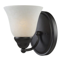 Z-Lite - Z-Lite 2116-1V Athena 1 Light Bathroom Sconce - With the delightful glow from its white mottle shade combined with the fixture's bronze finish, this vanity light fixture brings a new level of charm to any space. Specifications: