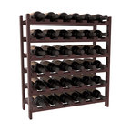 36 Bottle Stackable Wine Rack in Redwood with Walnut Stain + Satin Finish - A pair of discounted wine racks allow double wine storage at a low price. This rack accommodates all 750ml bottles, Pinots and Champagnes. The quintessential DIY wine rack kit. Your satisfaction is guaranteed.