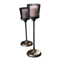 """Winward Designs - Glass Candle Holder On Stand, 20"""" - This timeless and luxurious candle holder stands beautifully on a slender iron pillar in a semi-transparent glass. A navy blue sheen complements the dark grey pillar for a classic look that will never go out of style. Best used in a set of two for balance."""