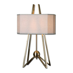 Andar Coffee Bronze Table Lamp - Plated Coffee Bronze Metal. The Rectangle Shade With Clipped Corners Is A Rust Beige Linen Fabric.