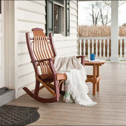 Fifthroom - Poly Lumber Porch Rocker - This porch rocker does not fit in like everyone else's.  It has stylish circles on the armrests, and beautiful system of curved and contoured slats on the back to create a rustic and exotic effect.
