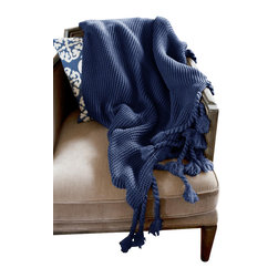 Woven Workz - Europa Navy Sweater-knit Throw - Take this stylish throw to the bed, couch, porch - anywhere you want to kick back and relax. Its irresistable texture will add definition to any room. Sweater-knit throw with a generous rope-like fringe. Large and comfy.