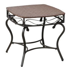 International Caravan - Patio Side Table in Antique Brown Finish - Water resistant. UV light fading protective coating. Durable powder coated steel frame. Made from wicker resin. Assembly required. 22 in. W x 22 in. D x 21 in. H (16 lbs.)The Valencia wicker resin outdoor side table is a perfect accent piece for any outdoor setting.