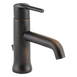 "Delta - Delta 559LF-RBMPU Trinsic Single-Handle Lavatory Faucet (Venetian Bronze) - Delta 559LF-RBMPU Trinsic Single-Handle Lavatory Faucet with pop-up (Venetian Bronze). The Delta 559LF-RBMPU is part of the Trinsic Series. This single-handle lavatory faucet includes a metal drain with pop-up type fitting, plated flange, and stopper. Its single lever handle allows you exact temperature and volume control, and it comes with a solid brass body and 5"" long spout. It comes with 3/8"" O.D. straight, staggered PEX supply tubes, and a 1.5 GPM flow rate. This model comes in a dramatic, Venetian Bronze finish."