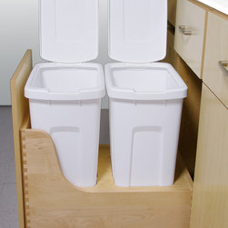 "Western Dovetail Inc. - Waste and Recycle Drawers - This is the latest design from Western Dovetail Inc. This new waste/recycle drawer kit fits in a 15"" opening and holds two 34 quart bins and also pulls out all the way allowing for lids to be used on both cans.  Other models made previously would not extend all the way out. This unit can be ordered with SERVO DRIVE automatic opening system with electronic touch to open hardware. Western Dovetail makes over 10 different standard waste/recycle drawers and many more custom variations."
