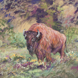 The Old Man In Springtime (Original) by Lindy Cook Severns - As we watched a small herd of bison graze while carelessly tromping through rioting wildflowers, this old bull stood his ground and watched us. I didn't tell the buffalo he would be my main model for a series of wildlife paintings. Nor have I sent him a check. This is a colorful sketch of the old patriarch. Done on archival museum grade paper.