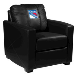 Dreamseat Inc. - New York Rangers NHL Xcalibur Leather Arm Chair - Check out this incredible Arm Chair. It's the ultimate in modern styled home leather furniture, and it's one of the coolest things we've ever seen. This is unbelievably comfortable - once you're in it, you won't want to get up. Features a zip-in-zip-out logo panel embroidered with 70,000 stitches. Converts from a solid color to custom-logo furniture in seconds - perfect for a shared or multi-purpose room. Root for several teams? Simply swap the panels out when the seasons change. This is a true statement piece that is perfect for your Man Cave, Game Room, basement or garage.