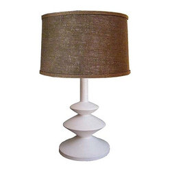 R.T. Facts - Alberto & Diego Giacometti Lamp, Large - Just one glance at this beautiful lamp design and you can quickly think of myriad different display options. Thanks to smooth, tasteful lines and a warm, inviting burlap shade, these lamps can blend into almost any bedroom space, living room or hallway with ease.