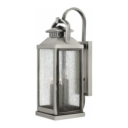 Hinkley Lighting - Hinkley Lighting Revere Traditional Outdoor Wall Sconce, Large - Revere is a classic, traditional coach lantern in solid brass with clear seedy glass panels. The glass faux candle sleeves complete the authentic appearance.