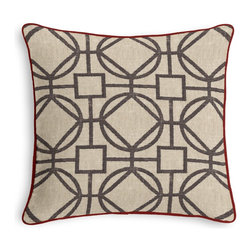 Charcoal & Natural Modern Trellis Corded Pillow - Black and white photos, Louis XIV chairs, crown molding: classic is always classy. So it is with this long-time decorator's favorite: the Corded Throw Pillow.  We love it in this teal geometric trellis on thick natural cotton. a bold statement of modern meets rustic.