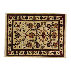 1800-Get-A-Rug - Persian Heriz Ivory 100 Percent Wool Hand Knotted Oriental Rug Sh18813 - Our Tribal & Geometric hand knotted rug collection, consists of classic rugs woven with geometric patterns based on traditional tribal motifs. You will find Kazak rugs and flat-woven Kilims with centuries-old classic Turkish, Persian, Caucasian and Armenian patterns. The collection also includes the antique, finely-woven Serapi Heriz, the Mamluk Afghan, and the traditional village Persian rug.