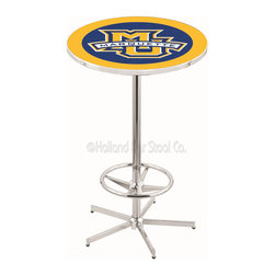 Holland Bar Stool - Holland Bar Stool L216 - 42 Inch Chrome Marquette Pub Table - L216 - 42 Inch Chrome Marquette Pub Table  belongs to College Collection by Holland Bar Stool Made for the ultimate sports fan, impress your buddies with this knockout from Holland Bar Stool. This L216 Marquette table with retro inspried base provides a quality piece to for your Man Cave. You can't find a higher quality logo table on the market. The plating grade steel used to build the frame ensures it will withstand the abuse of the rowdiest of friends for years to come. The structure is triple chrome plated to ensure a rich, sleek, long lasting finish. If you're finishing your bar or game room, do it right with a table from Holland Bar Stool.  Pub Table (1)