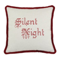 D'Kei Silent Night Pillow with Red Brush - The D'Kei Silent Night Pillow with Red Brush is a delightful addition to your holiday décor. Made of 75% cotton and 25% linen cover, this holiday pillow is filled with 100% hypoallergenic polyfill. The center reads 'silent Night in red. Eco-friendly water-based inks are used for all images. A red brush fringe cord edging provides a stunning accent while also hiding a zipper closure. Spot clean only.