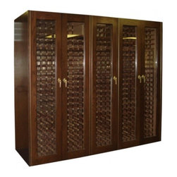 Vinotemp - VINO-1500G-N 960 Bottle Glass Door Wine Cabinet with Digital Temperature Control - Vinotemp39s 1500G wine cabinet is an elegant five-door wood cabinet with glass doors and an approximate capacity of 960 bottles The cellar features two Wine-Mate cooling systems to provide a proper environment for your collection Vinotemp wine cabine...