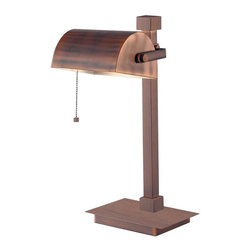 Kenroy Home - Welker Desk Lamp - Vintage Copper Finish. 8 in. W Vintage Copper Metal Shade. 1-60 Watt (M) Bulb. On/Off Pull Chain Switch. 16 in. HA unique combination of a banker's lamp and a modern desk lamp, the classic head of Welker pairs nicely with its off center pole, rectangular base, and Vintage Copper finish.