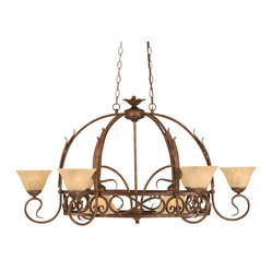 "Toltec - Toltec 216-Brz-508 Bronze Finish 8 Light Pot Rack With 8 Hooks - Toltec 216-BRZ-508 Bronze Finish 8 Light Pot Rack With 8 Hooks With 7"" Italian Marble Glass, Pots Not Included"