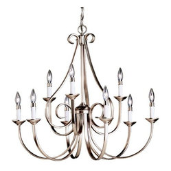"Kichler - Dover 2-Tier Scroll Chandelier by Kichler - Be captivated by the elegance of the Kichler Dover Two-Tier Scroll Chandelier. Featuring candle-like lights hosted upon scrolling arms, this chandelier is a romantic piece with curves in all the right places. Choose from a variety of finishes to best complement your soft contemporary decor.Since 1938, Cleveland-based Kichler Lighting has created exceptional lighting in a variety of styles, finishes, colors and designs. With a diverse collection of indoor and outdoor lighting in classic and contemporary styles, Kichler Lighting always focuses on making home lighting that is both beautiful and functional.The Kichler Dover Two-Tier Scroll Chandelier is available with the following:Details:Metal frameCeiling canopy72"" chain93"" lead wireOptions:Finish: Brushed Nickel, or Tannery Bronze.Lighting: Nine 60 Watt 120 Volt Candelabra Base Incandescent lamps (not included).Shipping:This item usually ships in 3-5 days."