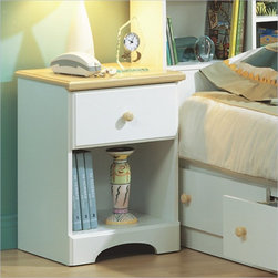 South Shore - South Shore Newbury Collection White Nightstand - South Shore - Nightstands - 3263062 - The clean linear lines and spare decorative detail that define traditional Shaker style are reflected in the Newbury Nightstand. It features a warm natural maple top distinctive inner arched apron and a wooden knob-style drawer pull all in a pure white finish that will look great next to your single bed.