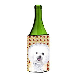 Caroline's Treasures - Bichon Frise Fall Leaves Portrait Wine Bottle Koozie Hugger - Bichon Frise Fall Leaves Portrait Wine Bottle Koozie Hugger Fits 750 ml. wine or other beverage bottles. Fits 24 oz. cans or pint bottles. Great collapsible koozie for large cans of beer, Energy Drinks or large Iced Tea beverages. Great to keep track of your beverage and add a bit of flair to a gathering. Wash the hugger in your washing machine. Design will not come off.