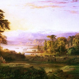 "Robert Scott Duncanson Dream of Italy - 14"" x 28"" Premium Archival Print - 14"" x 28"" Robert Scott Duncanson Dream of Italy premium archival print reproduced to meet museum quality standards. Our museum quality archival prints are produced using high-precision print technology for a more accurate reproduction printed on high quality, heavyweight matte presentation paper with fade-resistant, archival inks. Our progressive business model allows us to offer works of art to you at the best wholesale pricing, significantly less than art gallery prices, affordable to all. This line of artwork is produced with extra white border space (if you choose to have it framed, for your framer to work with to frame properly or utilize a larger mat and/or frame).  We present a comprehensive collection of exceptional art reproductions byRobert Scott Duncanson."