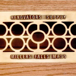 """Renovators Supply - Heat Registers Bright Solid Cast Brass Heat Register - Control & SAVE on energy bills with registers that let you control every room��_��__��_s airflow with their open or shut slide operated louver assembly (damper box). Mounts to floors or ceilings, damper box cannot be locked in place. Polished & lacquered to prevent tarnishing their traditional scroll design & heavy cast brass are of superior quality workmanship. Adorned with """"Renovator's Supply Millers Falls Mass"""" imprint for a period style. Hardware not included. Overall 4 3/4 x 11."""