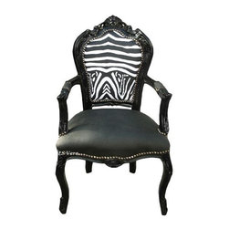 Lansky Studio - Zahara French Louis XV Chair in Zebra - Beautiful French Louis XV style chair . Upholstered in black faux leather on the seat. Zebra cotton fabric on the back. With Nail heads shown. Padded on the armrests. The wooden frame is painted in black.