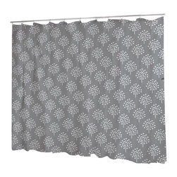Uneekee - Uneekee Trees Gray Shower Curtain - Your shower will start singing to you and thanking you for such a glorious burst of design as you start your day!  Full printing on the front and white on the back.  Buttonhole openings for shower rings.