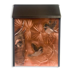 Chickadee & Family Locking Wall-Mount Copper Mailbox - Add this striking wall mount copper mailbox to your home's entryway. The copper panel is hand-embossed with a chickadee family, and the sturdy steel box features a hidden lock for added security.