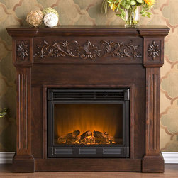 Holly and Martin - Huntington Electric Fireplace Cabinet Mantel Package in Espresso - 37-131-023-6- - The Huntington 44 inch Electric Fireplace Cabinet Mantel Package in Espresso is a beautiful design with carved moldings and an elegant finish ideal for any home or office.  It uses a standard 120v outlet to provide supplemental heating and requires no venting. Realistic LED flames and a log set complete with embers can be adjusted separately  for brightness and intensity.